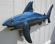 Marine Sculpture Metal Prints - Shark Blue Bull Shark Metal Print by Robert Blackwell