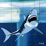 Dressing Room Digital Art Posters - Shark Poster by Roby Marelly