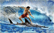 Sharks Paintings - Shark surfing by Georgi Dimitrov