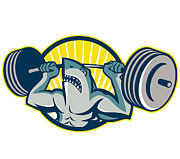 Shark Posters - Shark Weightlifter Lifting Barbell Mascot Poster by Aloysius Patrimonio