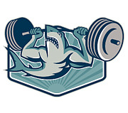 Fish Digital Art Prints - Shark Weightlifter Lifting Weights Mascot Print by Aloysius Patrimonio