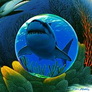 Underwater Digital Art Prints - Shark World  Print by Robin Moline