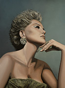 Quick Painting Posters - Sharon Stone Poster by Paul  Meijering