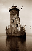 Lighthouse Wall Decor Prints - Sharps Island Lighthouse Print by Skip Willits