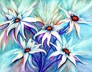 Wild Asters Paintings - Shasta Daisy dance by Janine Riley