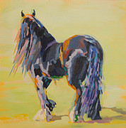 Black Stallion Paintings - Shasta Solomon by Kimberly Santini