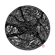 Circles Drawings Framed Prints - Shattered Core Framed Print by Christina Rivera-Scott