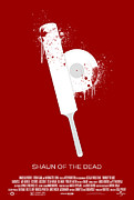 Movie Posters Framed Prints - Shaun of the Dead Custom Poster Framed Print by Jeff Bell