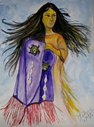 Shawl Painting Originals - Shawl Dancer by Linda Waidelich