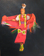 Shawl Painting Originals - Shawl Dancer by Neal Creapeau