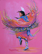 Indian Pastels Posters - Shawl Dancer Poster by Tanja Ware
