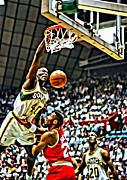 Dunking Photo Framed Prints - Shawn Kemp Painting Framed Print by Florian Rodarte