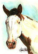 Pinto Horse Paintings - Shawnee by Linda L Martin