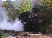 Wv Locomotive Photos - Shay Engine #2 Climbing Bald Knob by Grant Connard