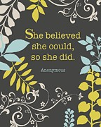 Shower Gift Posters - She Believed Poster by Cindy Greenbean