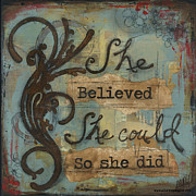 Burgundy Mixed Media Posters - She Believed Poster by Shawn Petite