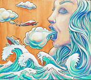 Mix Medium Mixed Media Prints - She Blows Print by Reid Jenkins