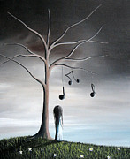 Surreal Landscape Painting Metal Prints - She Cried A Song For You Today by Shawna Erback Metal Print by Shawna Erback