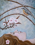 Cherry Blossoms Painting Posters - She Dreams the Spring Poster by Sheri Howe