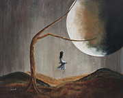 Moon Paintings - She Feels Memories by Shawna Erback by Shawna Erback