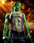 Muscle Drawings Metal Prints - She-Hulk 2 Metal Print by Pete Tapang