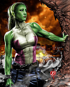 Muscle Drawings Metal Prints - She-Hulk Metal Print by Pete Tapang
