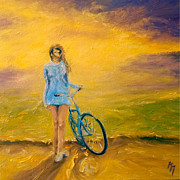 Girl On Bike Framed Prints - She I Framed Print by Mathias