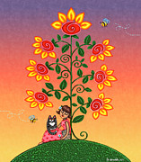 Flowering Vine Posters - She Is Life Barnes and Noble Poster by Victoria De Almeida