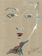 Printmaking Prints - She knows what you want. A womans face. Blue eyes.  Print by Cathy Peterson