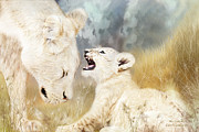 Lioness Mixed Media Posters - She Listens Poster by Carol Cavalaris