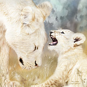 Lions Mixed Media Prints - She Listens - Square Format Print by Carol Cavalaris