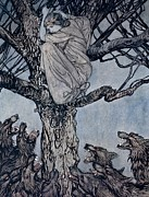 Story Drawings Prints - She looked with angry woe at the straining and snarling horde below illustration from Irish Fairy  Print by Arthur Rackham