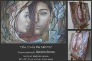 Young Love Painting Originals - She Loves Me 140709 by Selena Boron
