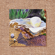Watercolor Posters - She Sells Sea Shells Decorative Design Poster by Irina Sztukowski