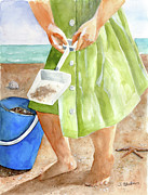 Original Watercolor Paintings - She Sells Sea Shells by Sheryl Heatherly Hawkins