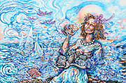 She Sells Seashells By The Seashore Print by Susan Schiffer