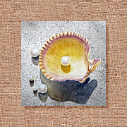 Seashell Fine Art Painting Prints - She Sells Seashells Decorative Collage Print by Irina Sztukowski