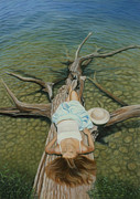 Sunbathing Paintings - She Slept Like a Log by Holly Kallie