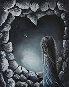 Dreams Paintings - She Talks To Rainbows And Fireflies by Shawna Erback by Shawna Erback