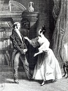 Romance Drawings Framed Prints - She then told him what Mr Darcy had voluntarily done for Lydia Framed Print by William Greatbach