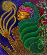 Shamanistic Paintings - She Who Calls TreeSnake Goddess by Annette Wagner
