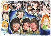 Beatles Pastels Prints - Shea Stadium 1965 Print by Moshe Liron