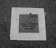Base Balls Framed Prints - SHEA STADIUM FIRST BASE in BLACK AND WHITE Framed Print by Rob Hans