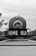 Black And White Ball Park Framed Prints - SHEA STADIUM HOME RUN APPLE in BLACK AND WHITE Framed Print by Rob Hans