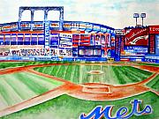 Baseball Painting Metal Prints - Shea Stadium Metal Print by Sandy Ryan