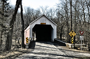 Covered Bridge Digital Art Metal Prints - Sheards Mill Covered Bridge Bucks County Pa Metal Print by Bill Cannon