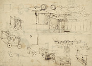 Sketch Drawings - Shearing machine for fabrics and its components from Atlantic Codex  by Leonardo Da Vinci