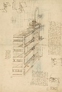 Italian Drawings Prints - Shearing machine with detailed captions explaining its working from Atlantic Codex Print by Leonardo Da Vinci