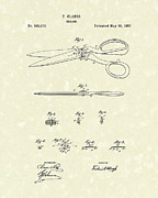 Scissors Drawings Framed Prints - Shears 1887 Patent Art Framed Print by Prior Art Design