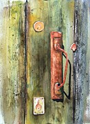 Rust Painting Prints - Shed Door Print by Sam Sidders